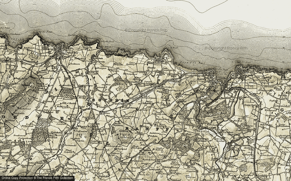Old Map of Historic Map covering Backhill in 1910
