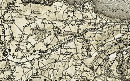 Old map of Baldavie in 1910