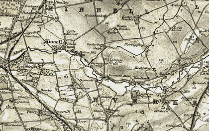 Old map of Wester Braikie in 1907-1908