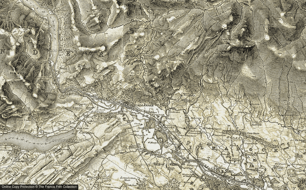 Old Map of Historic Map covering Leathan Dhail in 1906-1907