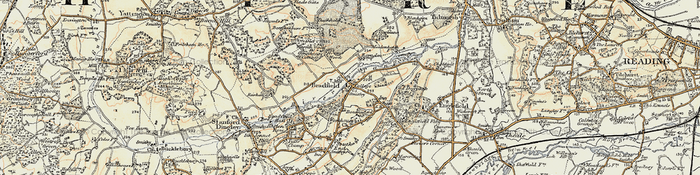 Old map of Bradfield in 1897-1900