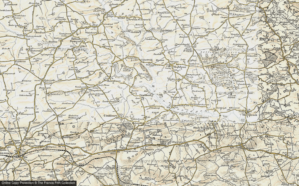 Old Map of Historic Map covering Allacott in 1900