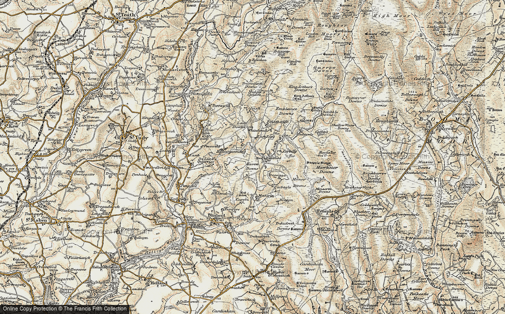 Old Map of Historic Map covering Leaze in 1900