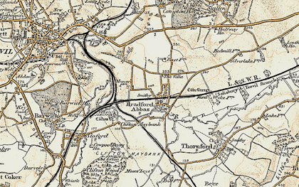 Old map of Bradford Abbas in 1899