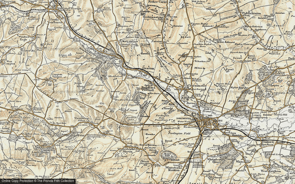 Old Map of Historic Map covering Tilly Whim in 1899