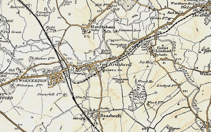Old map of Bradville in 1898-1901