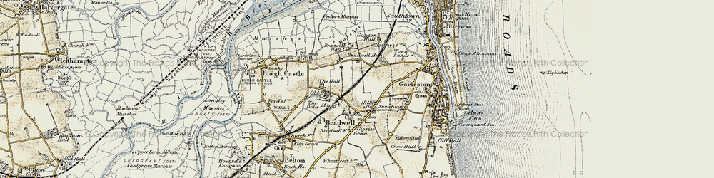 Old map of Bradwell in 1901-1902