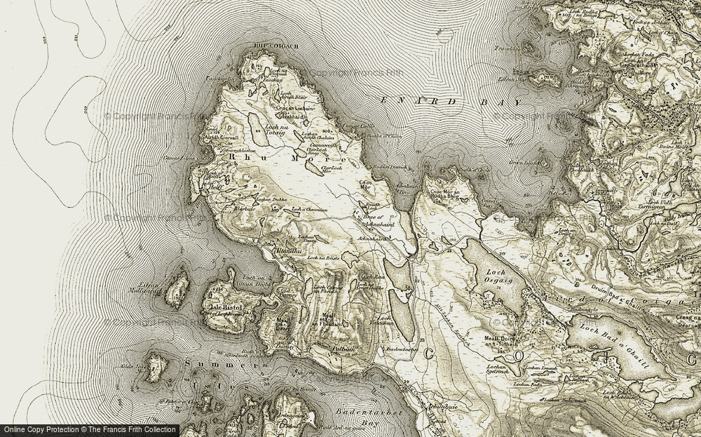 Old Map of Historic Map covering Achnahaird Bay in 1909-1910