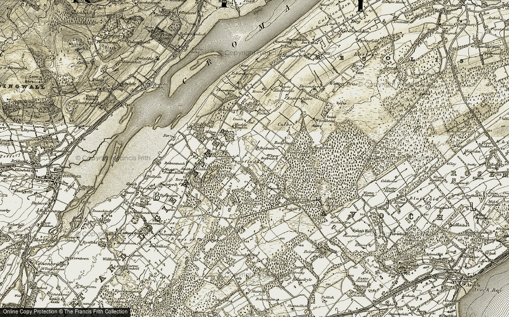 Old Map of Historic Map covering Woodhead in 1911-1912