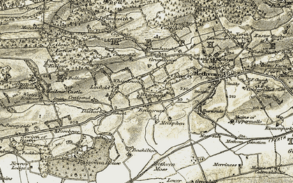 Old map of Wester Keillour in 1906-1908