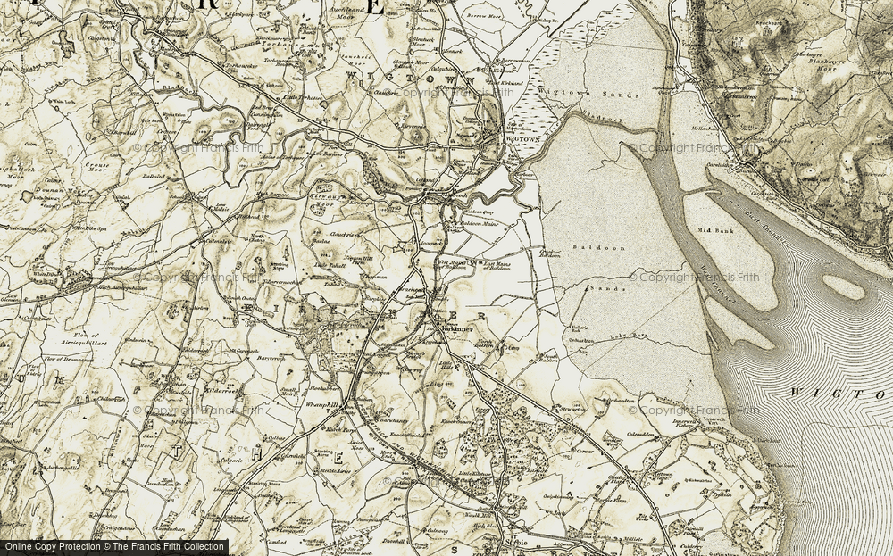 Old Map of Historic Map covering Baldoon Sands in 1905