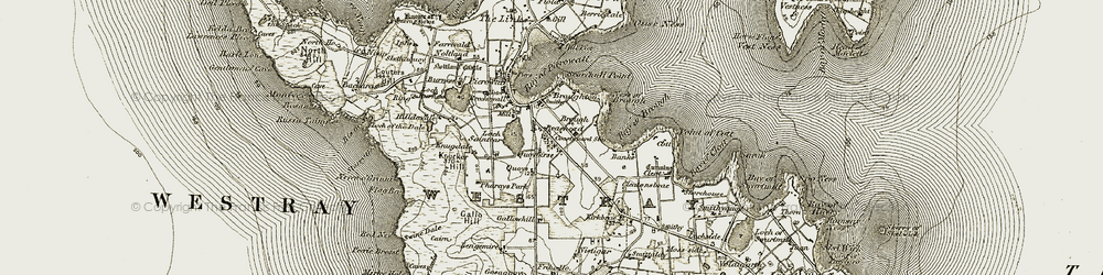 Old map of Westray in 1912
