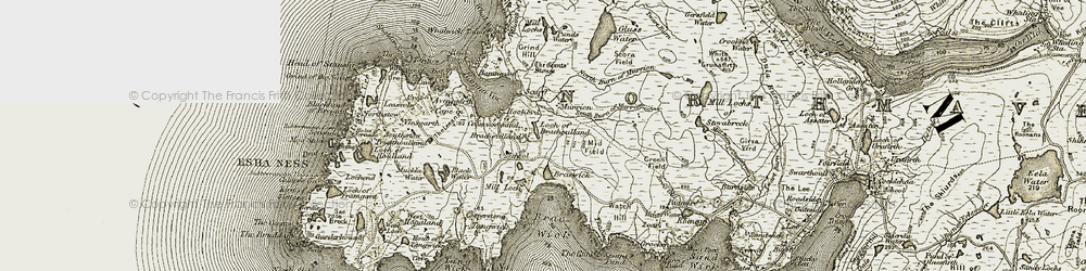 Old map of Loch of Braehoulland in 1912