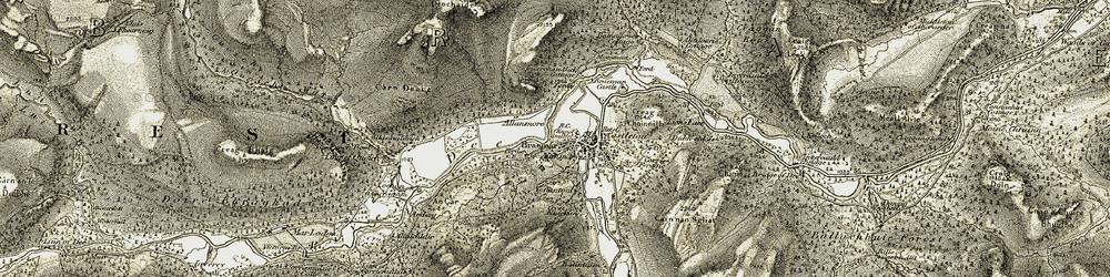 Old map of Braemar in 1908