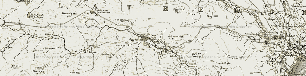 Old map of Allt Aoil in 1911-1912