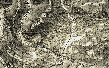 Old map of Wester Coul in 1907-1908