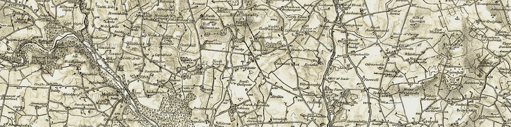 Old map of Tillysnaught in 1909-1910