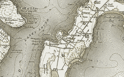 Old map of Lashy Sound in 1912