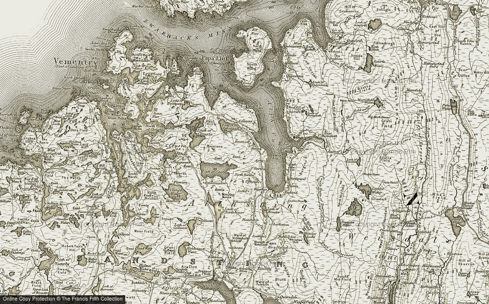 Old Map of Historic Map covering Aith Voe in 1911-1912