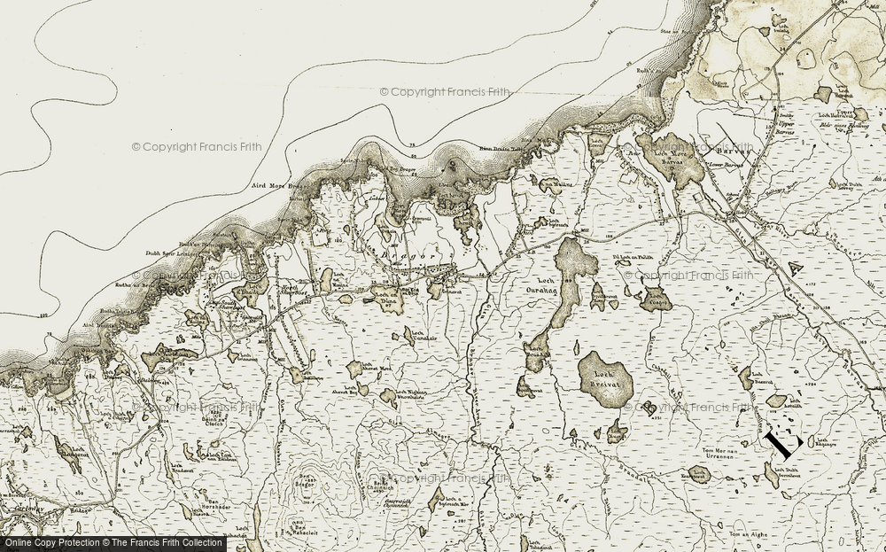 Old Map of Historic Map covering Abhainn Àrnol in 1911