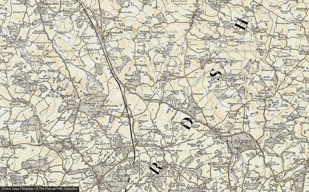 Old Map of Historic Map covering Astonbury Wood in 1898-1899