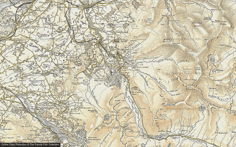 Old Map of Historic Map covering Afon Berthen in 1903-1910
