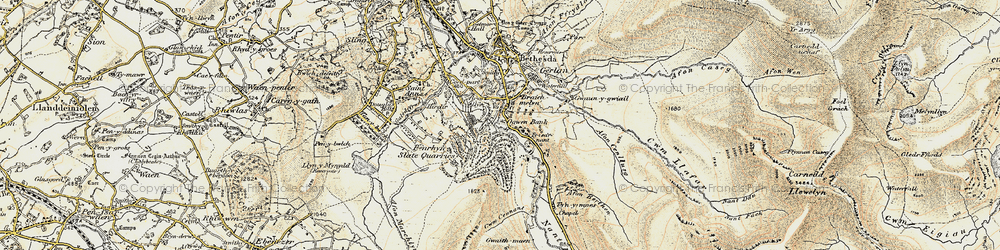Old map of Nant Ffrancon in 1903-1910