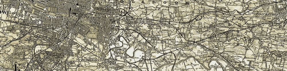 Old map of Tollcross Park in 1904-1905