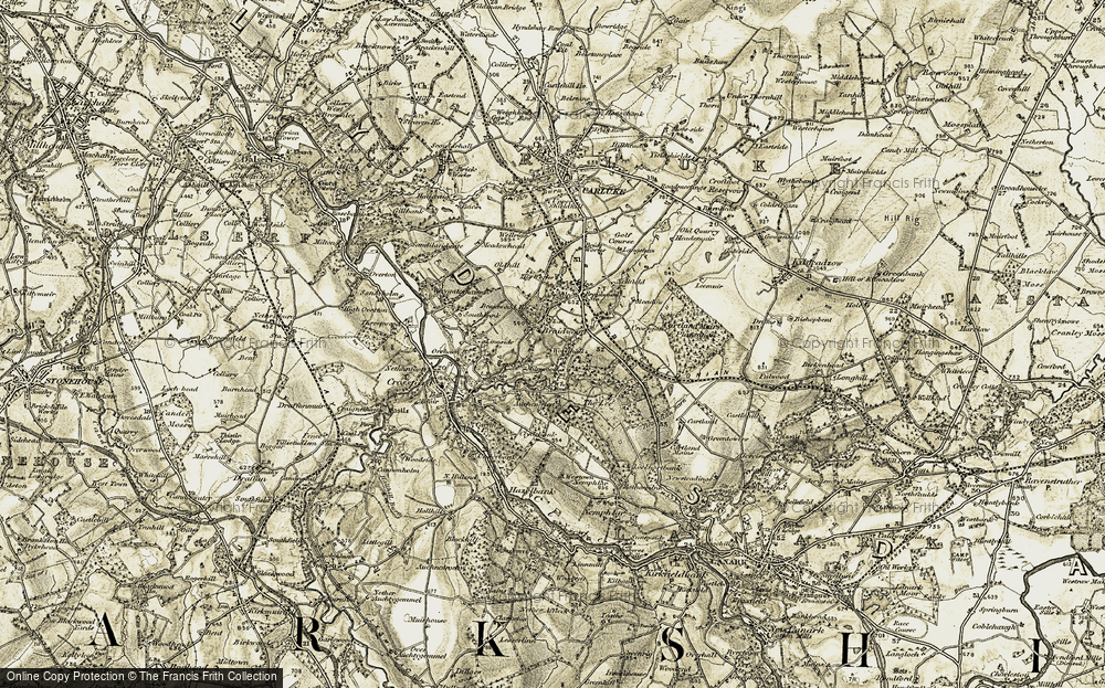Old Map of Historic Map covering Linnside in 1904-1905