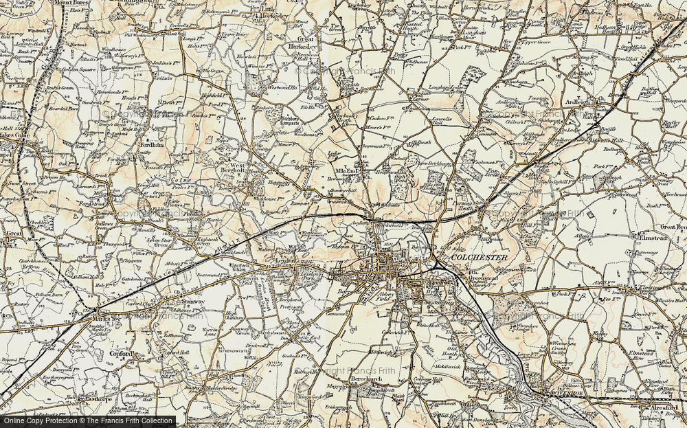 Old Map of Historic Map covering Lexden Lodge in 1898-1899