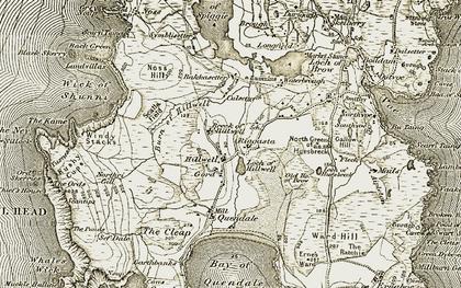 Old map of Bakkasetter in 1911-1912