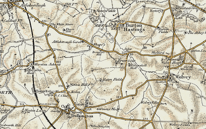 Old map of Bramcote in 1901-1902
