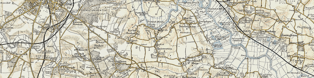 Old map of Bramerton in 1901-1902
