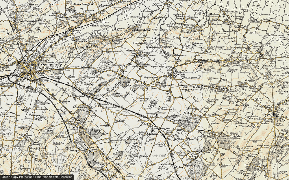 Old Map of Historic Map covering Lee Priory in 1898-1899