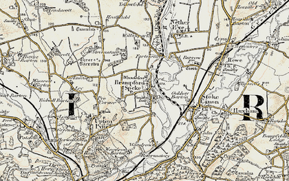 Old map of Brampford Speke in 1898-1900