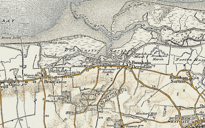 Old map of Brancaster Staithe in 1901-1902