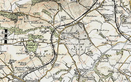 Old map of Brancepeth in 1901-1904