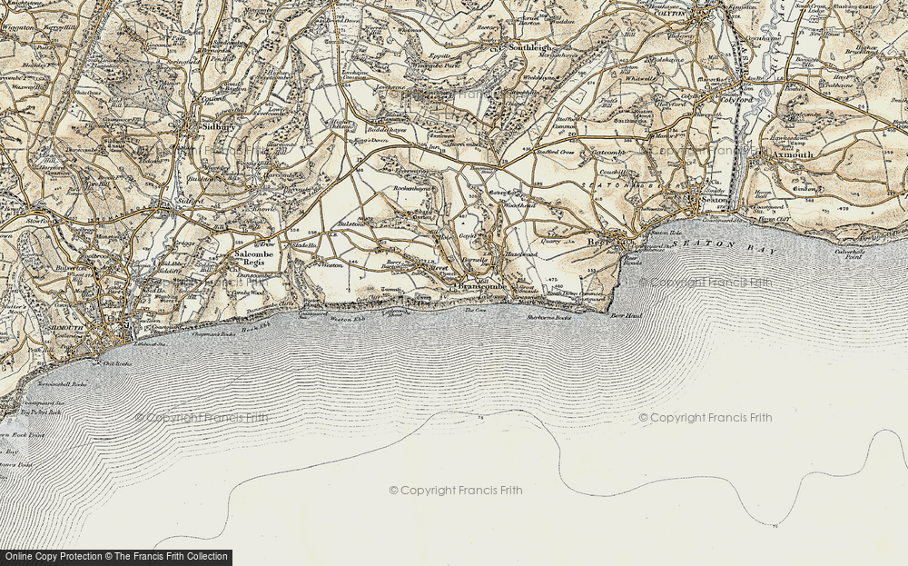 Old Map of Branscombe, 1899 in 1899