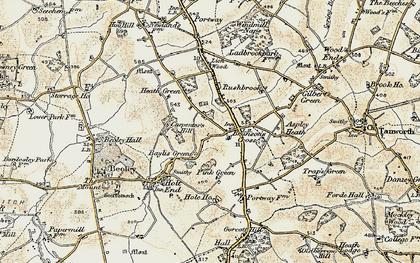Old map of Branson's Cross in 1901-1902