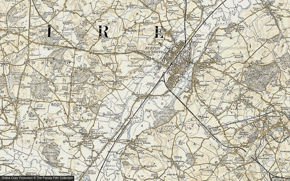 Old Map of Branston, 1902 in 1902