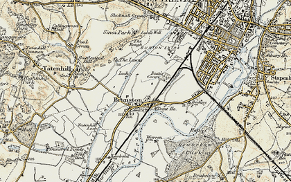 Old map of Branston in 1902