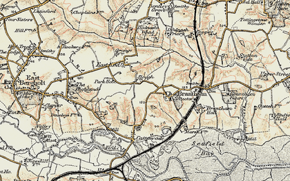 Old map of Brantham in 1898-1901