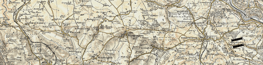 Old map of Brassington in 1902-1903