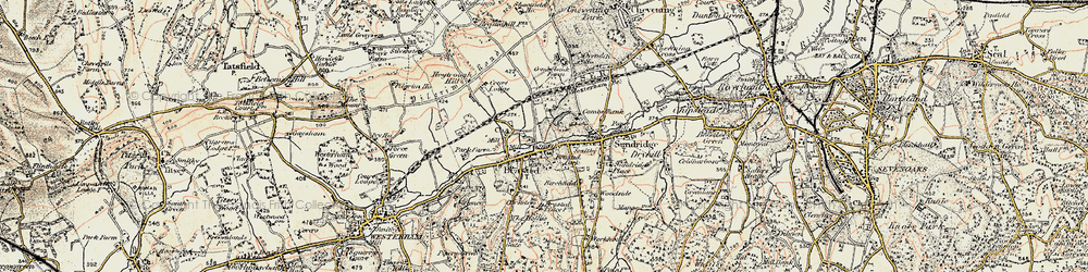 Old map of Brasted in 1897-1902