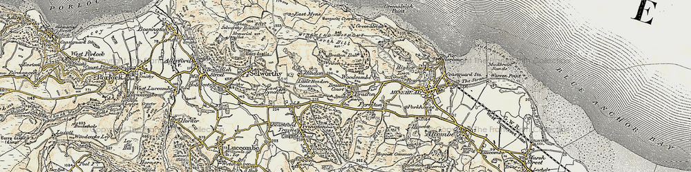 Old map of Bratton in 1899-1900