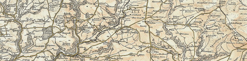Old map of Bratton Fleming in 1900