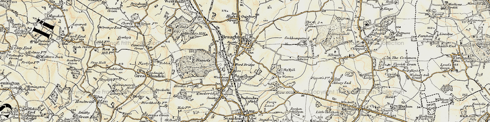 Old map of Braughing in 1898-1899