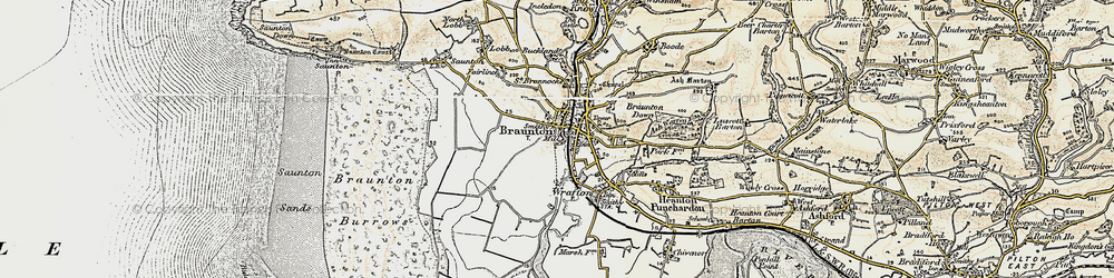 Old map of Braunton in 1900