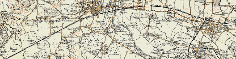 Old map of Bray in 1897-1909