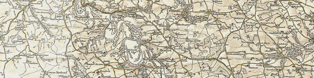 Old map of Yeory in 1899-1900